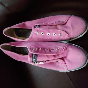 Sperry Women's Size 8.5 Canvas No Tie Slip On Snea